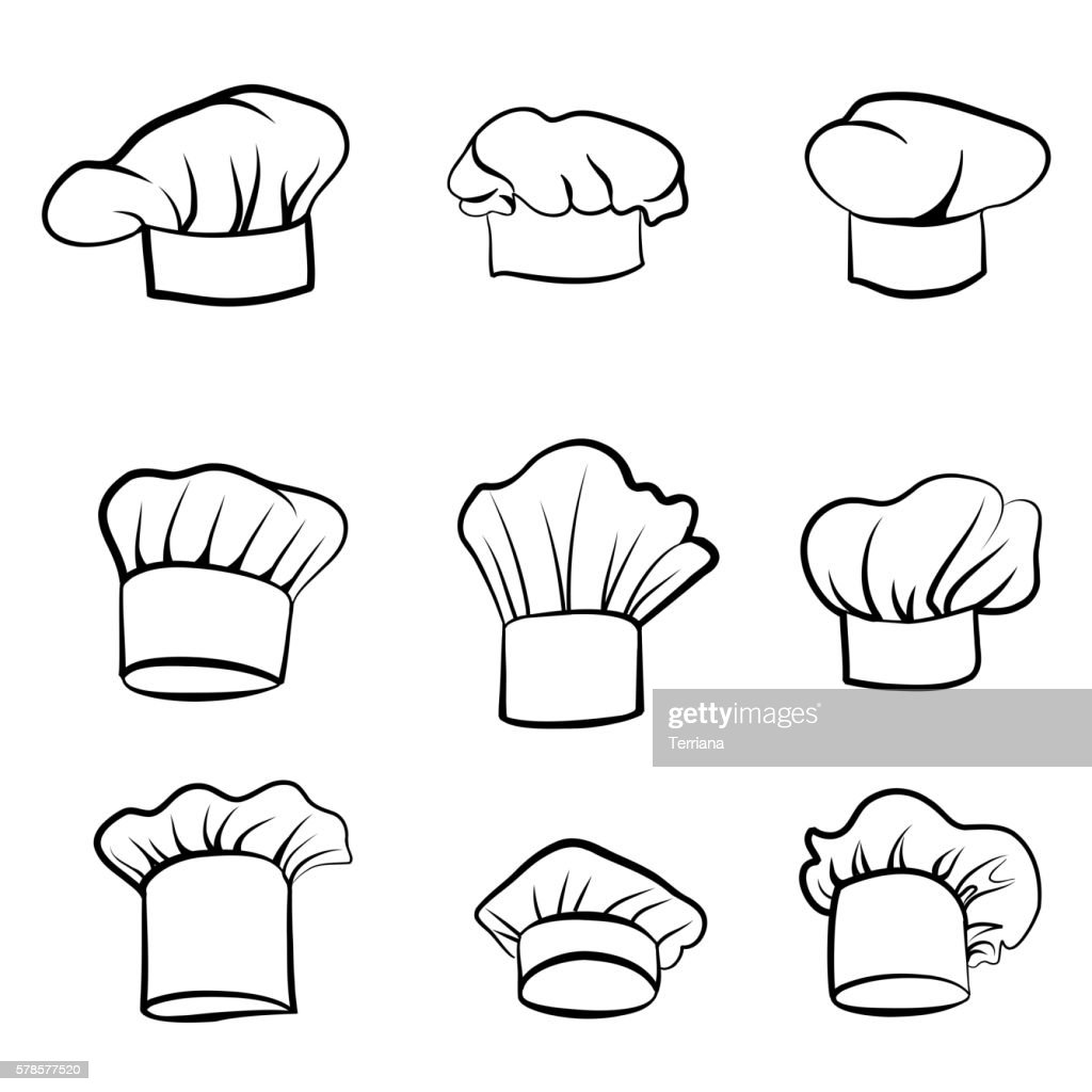 Cook hat set. Drawn hat chef cook sketch. Hat chef-cooker.