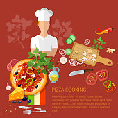 Cook pizzeria pizza ingredients on a red background