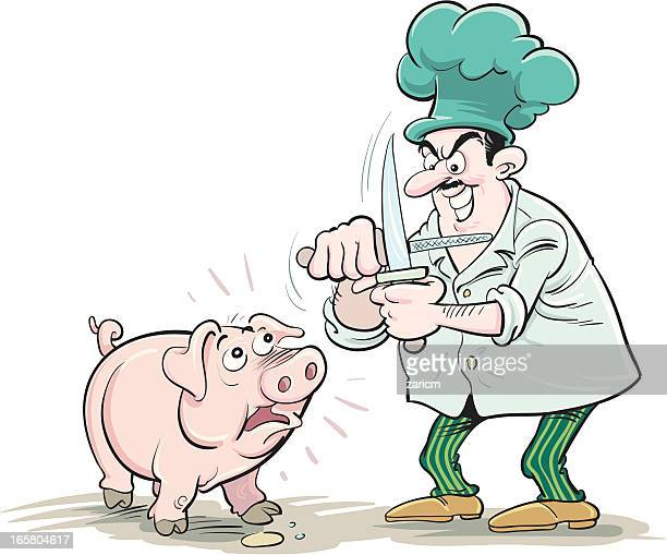 ilustraciones, imágenes clip art, dibujos animados e iconos de stock de cook con pig - matadero