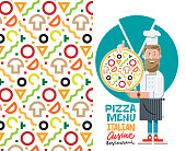 Cook with pizza and menu vector illustration isolated on white background. Flat style
