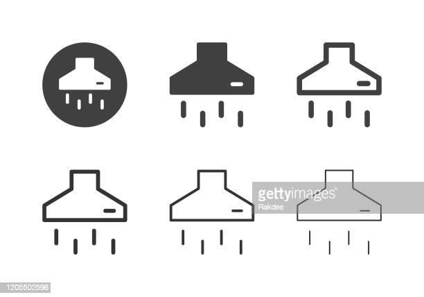 ilustrações, clipart, desenhos animados e ícones de ícones do coifa - multi série - exhaust fan