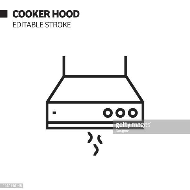 ilustrações, clipart, desenhos animados e ícones de ícone da linha da capa do fogão, ilustração do símbolo do vetor do esboço. pixel perfeito, curso editável. - exhaust fan