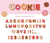 Cookie hand drawn decorative font. Cartoon sweet ABC letters and numbers. For birthday or Valentines day cards, cute design for girls.