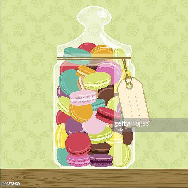 cookie jar full of macarons - macaroon stock illustrations, clip art, cartoons, & icons