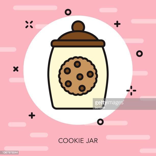 ilustrações, clipart, desenhos animados e ícones de cookie jar linha fina sobremesa ícone - comida doce