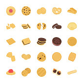 Cookies Flat Vector Icons Set