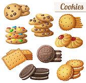 Cookies. Set of cartoon vector food icons