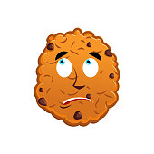 Cookies surprised Emoji. biscuit emotion astonished. Food Isolated