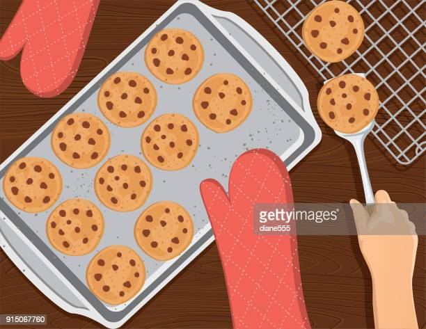 cooking and baking from above - baking sheet stock illustrations