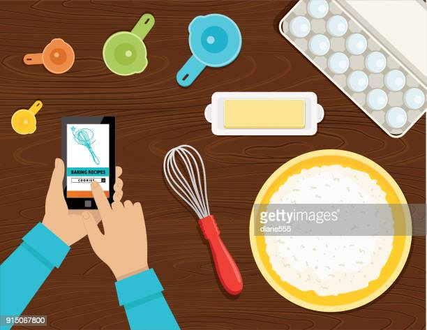 cooking and baking from above - cooking utensil stock illustrations, clip art, cartoons, & icons