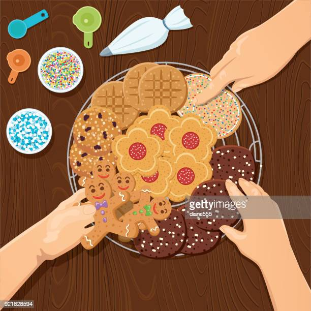 cooking and baking from above - icing stock illustrations
