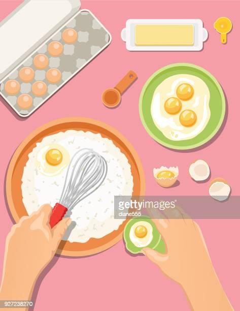 ilustrações, clipart, desenhos animados e ícones de cozinhar e assar de cima - misturando