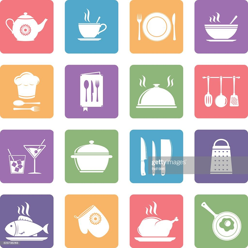 Cooking and kitchen flat icons