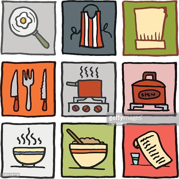 ilustraciones, imágenes clip art, dibujos animados e iconos de stock de los iconos de la cocina y cocina - al vapor