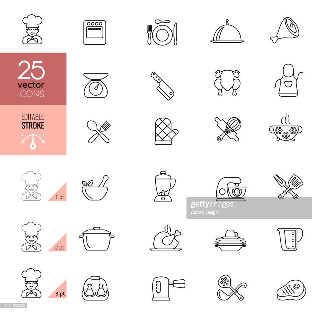 料理とキッチンラインのアイコン。 編集可能なストローク。 : ストックイラストレーション