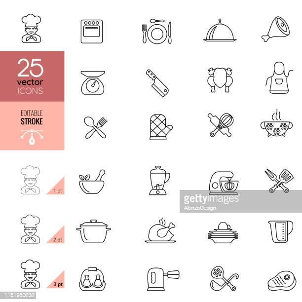 ilustrações, clipart, desenhos animados e ícones de cozinhando e ícones da linha da cozinha.  traço editável. - chef de cozinha