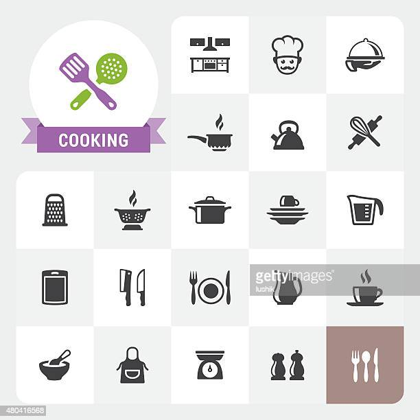 Icônes de cuisine vectorielles et label