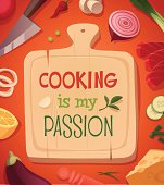 Cooking card \\ poster design. Vector illustration