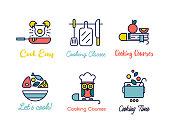 Cooking class linear design logos.