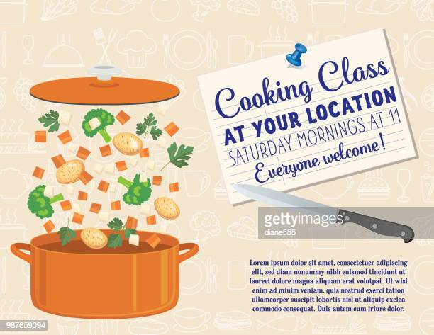 cooking class template - kitchenware department stock illustrations, clip art, cartoons, & icons
