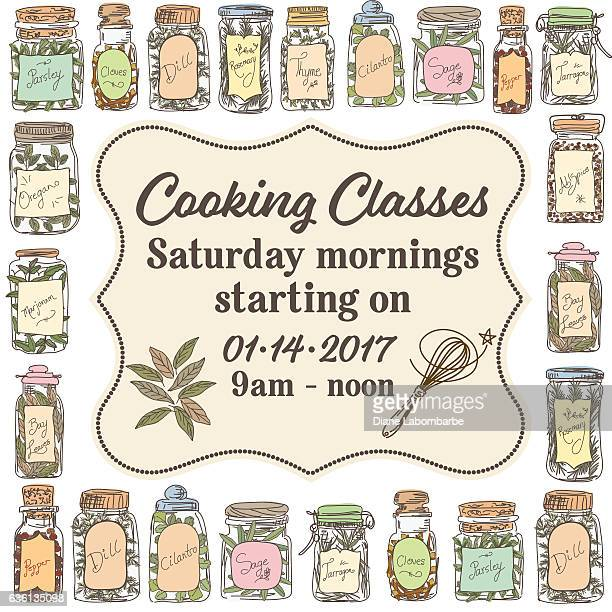 Cooking Class Template With Various Herbs And Spices