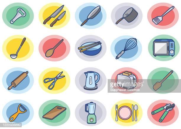 stockillustraties, clipart, cartoons en iconen met kookkleurpictogrammen instellen - dunschiller