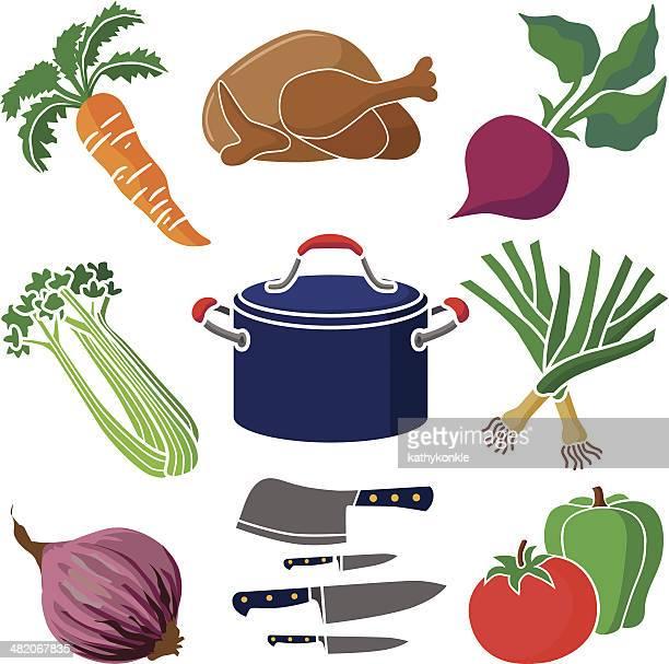 cooking design elements - leek stock illustrations, clip art, cartoons, & icons