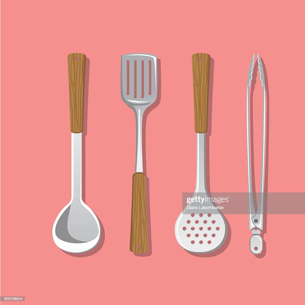 Cooking Elements - Utensils Hanging With Wood Handles