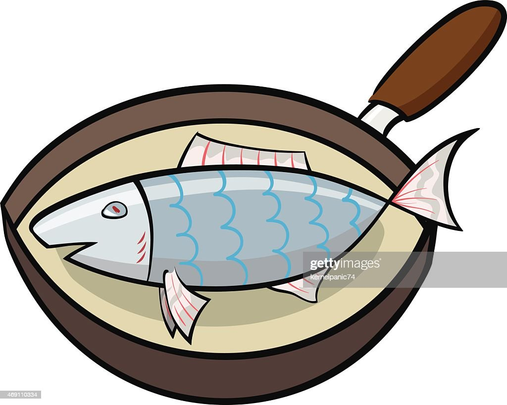cooking fish in a frying pan vector art getty images rh gettyimages com Chicken Fried Fish Dinner Clip Art Fried Fish Plate Clip Art