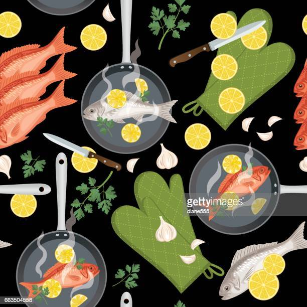 Cooking Fish Seamless Pattern