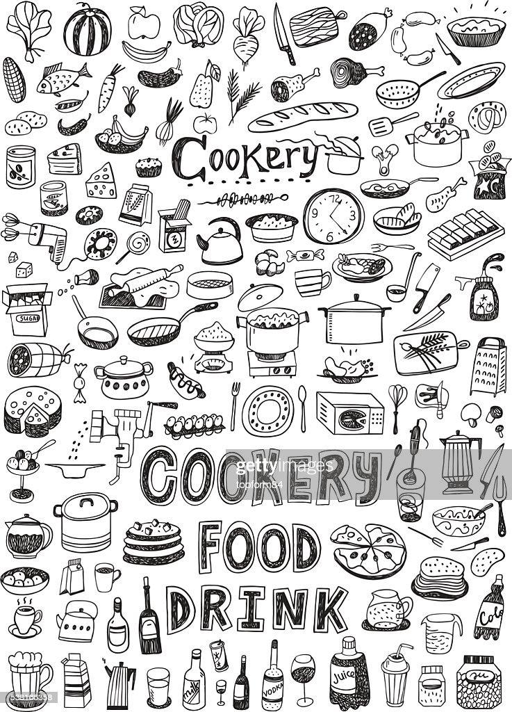cooking food doodles