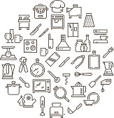 Cooking food in kitchen outline icons