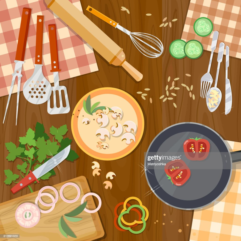 Cooking food kitchenware on the table top view