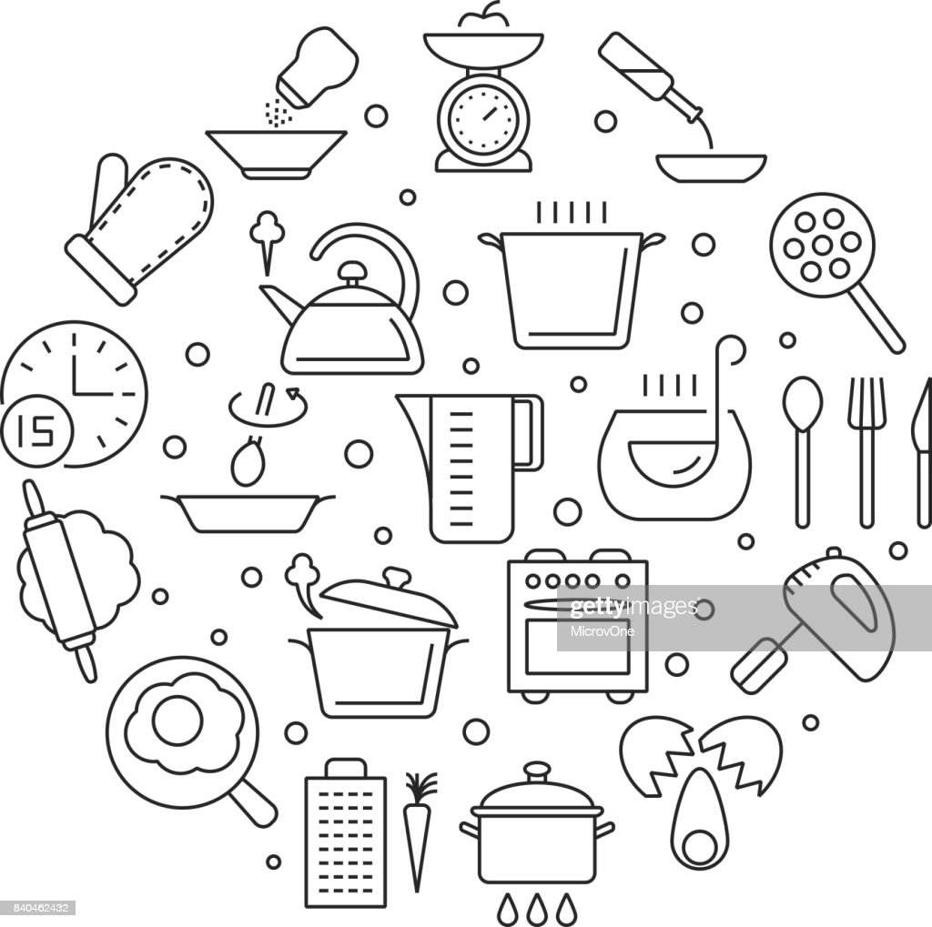 Cooking foods and kitchen tools thin line vector icons