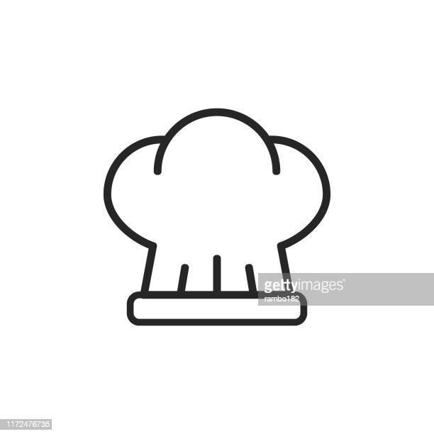 クッキングハットラインアイコン。編集可能なストローク。ピクセルパーフェクト。モバイルとウェブ用。 - 酋長点のイラスト素材/クリップアート素材/マンガ素材/アイコン素材