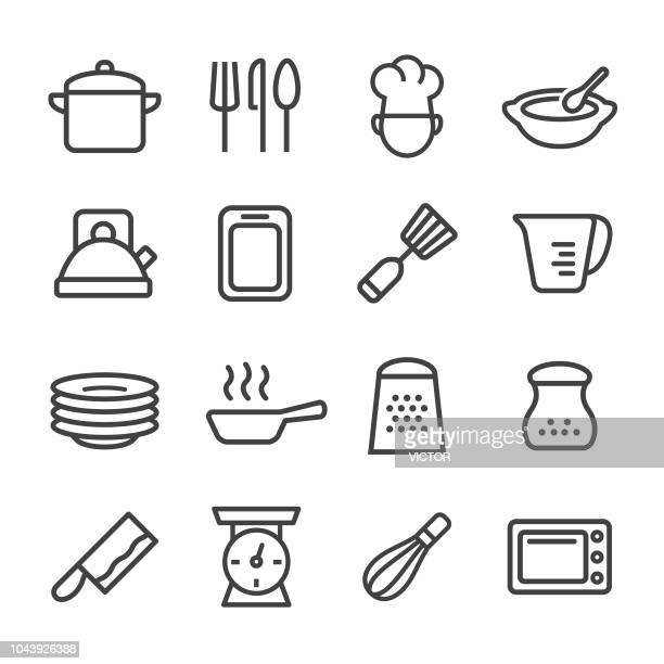 cooking icons - line series - kitchen scale stock illustrations, clip art, cartoons, & icons