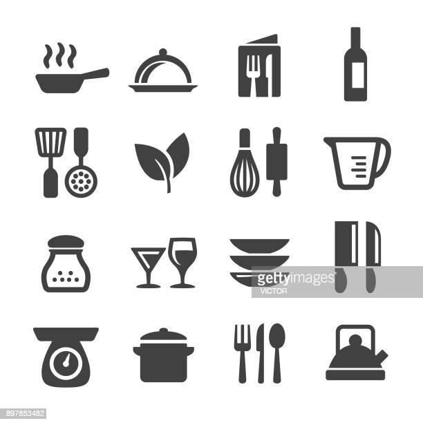 cooking icons set - acme series - kitchen scale stock illustrations, clip art, cartoons, & icons