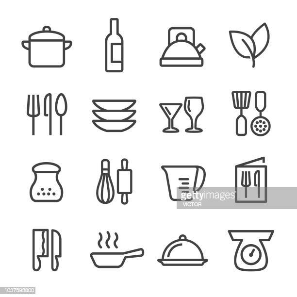 cooking icons set - line series - kitchen scale stock illustrations, clip art, cartoons, & icons