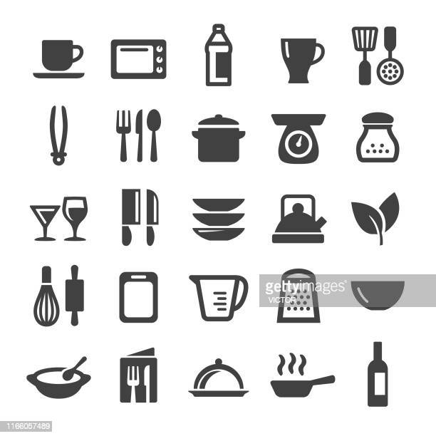 cooking icons set - smart series - kitchen scale stock illustrations, clip art, cartoons, & icons