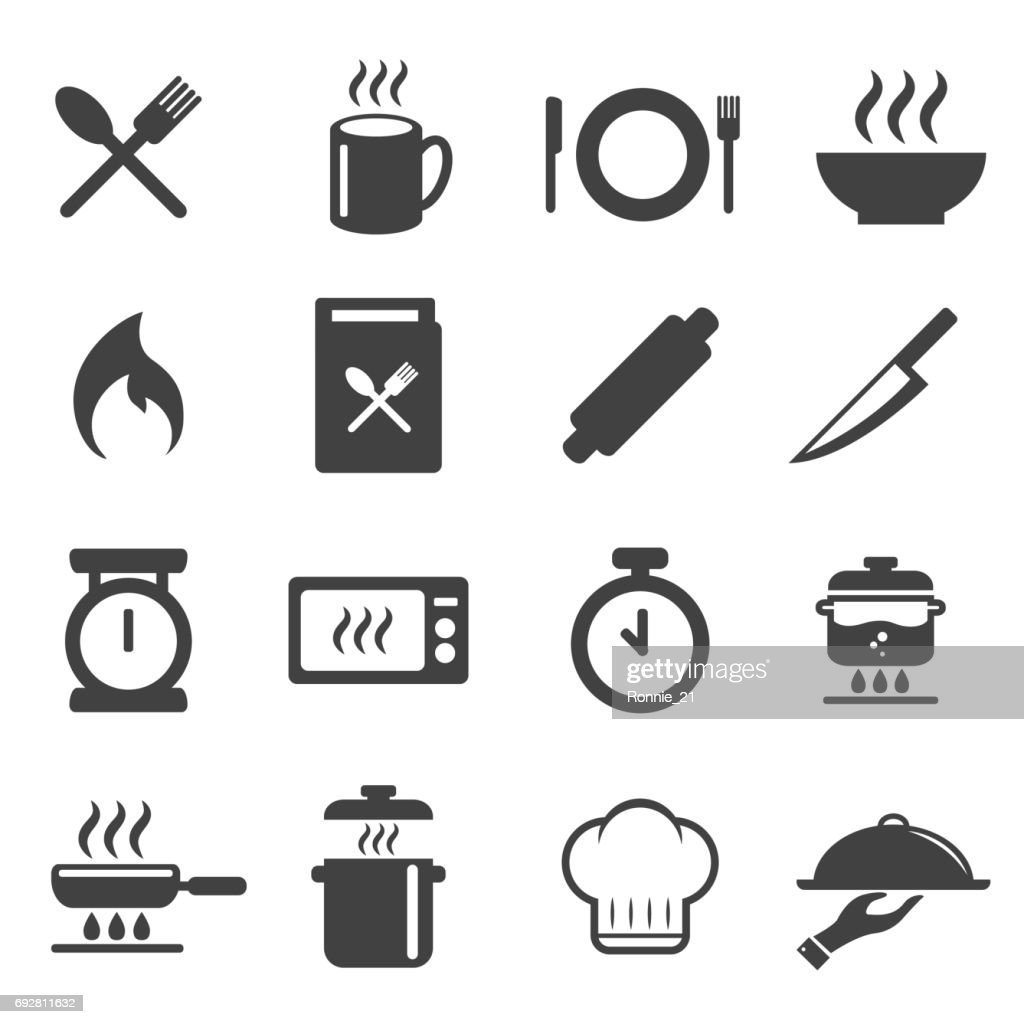 cooking icons set. vector illustration. cuisine , kitchen design concept.