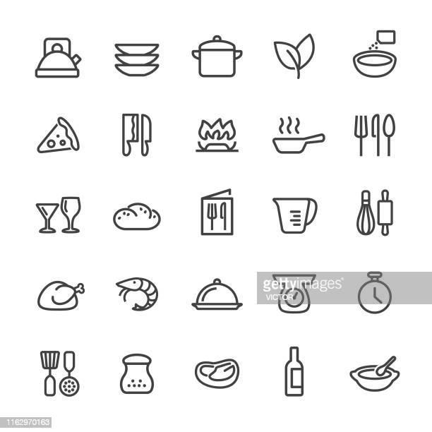 stockillustraties, clipart, cartoons en iconen met kook pictogrammen-smart line serie - kookgerei