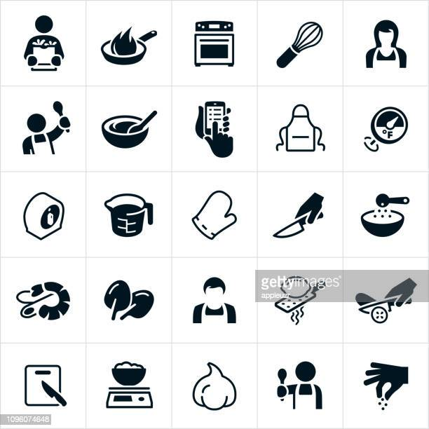 cooking icons - kitchen scale stock illustrations, clip art, cartoons, & icons