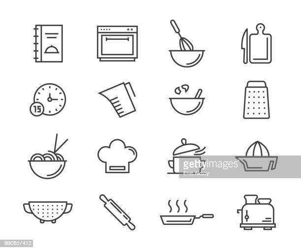 ilustrações, clipart, desenhos animados e ícones de ícones de culinária - chef de cozinha
