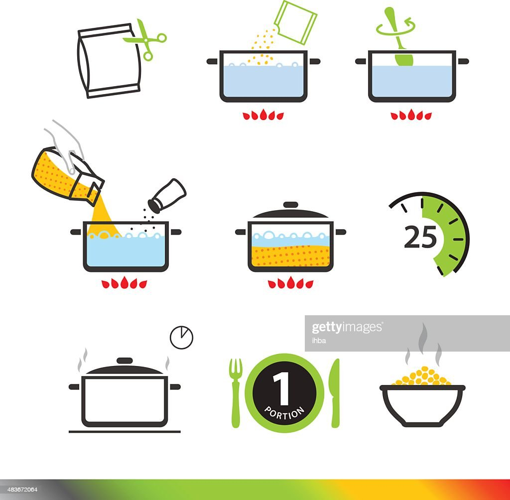 Cooking Instruction Icons Isolated On White Background Vector