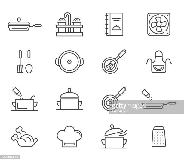 cooking, kitchen tools and utensil icons - kitchenware department stock illustrations, clip art, cartoons, & icons