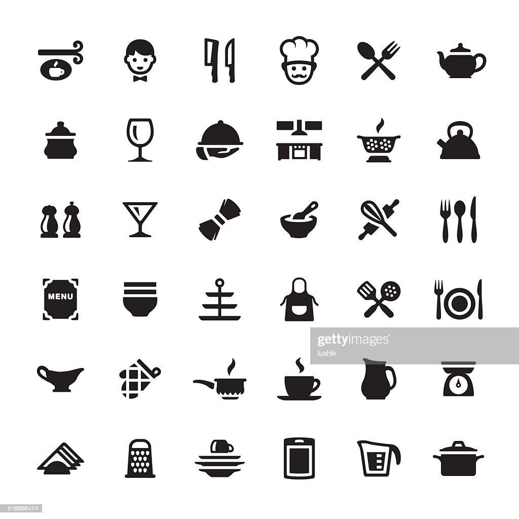 Cooking & Kitchen Utensil vector symbols and icons : stock illustration
