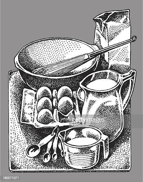 cooking kitchen utensils - still life - egg beater stock illustrations, clip art, cartoons, & icons