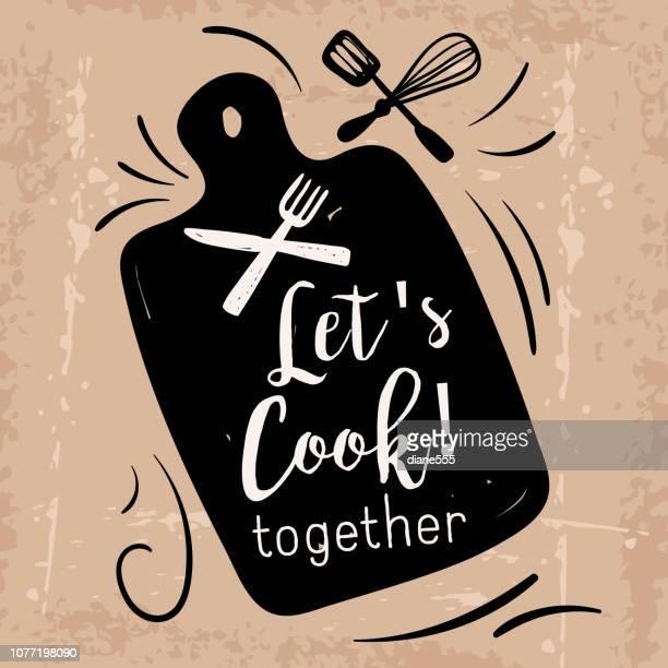 ilustrações, clipart, desenhos animados e ícones de cozinhar o rótulo com texto - chef de cozinha