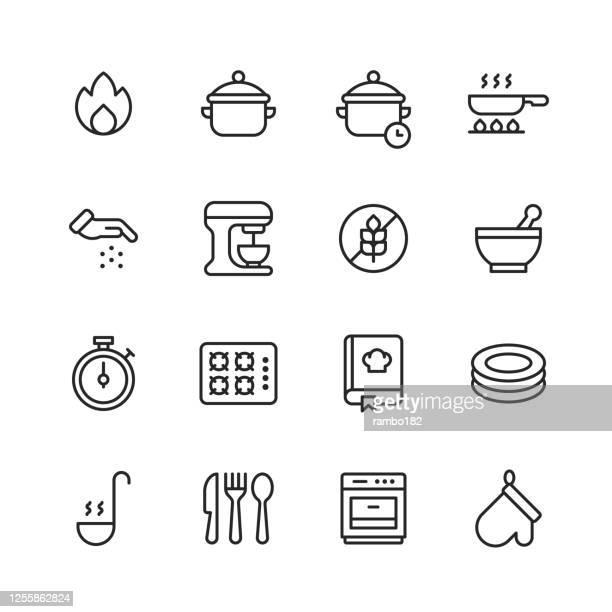 ilustraciones, imágenes clip art, dibujos animados e iconos de stock de iconos de línea de cocción. trazo editable. pixel perfecto. para móviles y web. contiene iconos tales como fuego, olla, sartén, freír, sazonar, sabor, especia, mezclador, sin gluten, tazón, estufa de gas, receta, platos, sopa, cuchillería, tenedor,  - ingredient