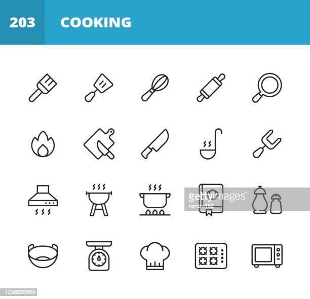 クッキングラインアイコン。編集可能なストローク。ピクセルパーフェクト。モバイルとウェブ用。ペストリーブラシ、スパチュラ、泡立て器、ローリングピン、フライパン、キッチンナイ� - 料理人点のイラスト素材/クリップアート素材/マンガ素材/アイコン素材
